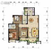 棠湖泊林城2室2厅2卫104平方米户型图