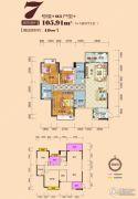 时代家园2室2厅2卫105平方米户型图