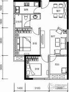 保利城2室2厅1卫77平方米户型图