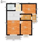公园华府2室2厅1卫76平方米户型图
