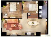 文化空间2室2厅1卫88平方米户型图