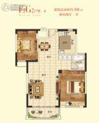 清华大溪地2室2厅1卫88平方米户型图