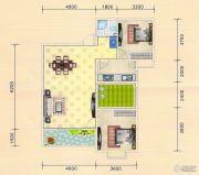 金色港湾2室2厅1卫98平方米户型图