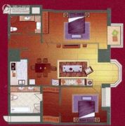 利佰佳国际公寓2室2厅1卫134平方米户型图
