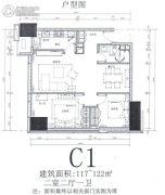 华远华中心2室2厅1卫117--122平方米户型图