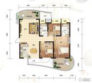 大都金沙湾3室2厅2卫120平方米户型图