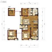万科城蓝色东方3室2厅2卫106平方米户型图