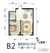 华源温泉度假公寓1室1厅1卫55平方米户型图