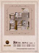 时代花园城3室2厅2卫104平方米户型图