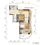 大都金沙湾1室1厅1卫82平方米户型图