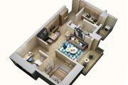 上乘世纪公园2室2厅1卫70平方米户型图