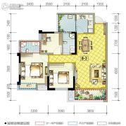南湖凯旋广场3室2厅2卫95平方米户型图