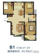 万邦城3室2厅1卫95平方米户型图