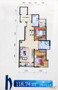 格林逸水苑三期2室2厅1卫118平方米户型图