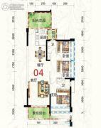 惠东国际新城3室2厅2卫110平方米户型图