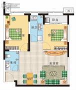 阳光100国际新城1室2厅1卫53平方米户型图