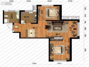 鹏博金城珑园2室2厅1卫86平方米户型图