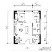 宝嘉花与山1室2厅1卫33平方米户型图