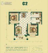 银泰逸翠园2室2厅1卫105平方米户型图