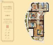 金海首府3室2厅1卫88平方米户型图