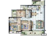 保利林语3室2厅2卫125平方米户型图