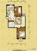 格林小镇2室2厅1卫66平方米户型图