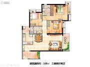 时代天韵3室2厅2卫108平方米户型图