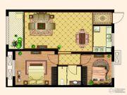 天齐・奥东花园2室2厅1卫84平方米户型图