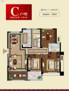 华皓英伦联邦3室2厅2卫120平方米户型图