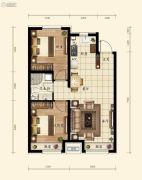 融创城2室2厅1卫75平方米户型图