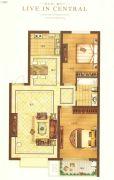 乾城华府2室2厅1卫92平方米户型图