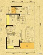 佳兆业东江新城2室2厅1卫74平方米户型图