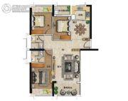海�Z天翡3室2厅2卫129平方米户型图