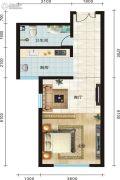 永新华・世界湾1室1厅1卫58平方米户型图