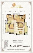 琥珀・东岸3室2厅2卫135平方米户型图