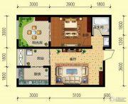翌琦新印象2室1厅1卫64平方米户型图