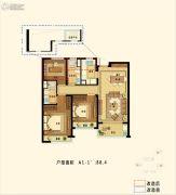 九龙仓珑玺3室2厅2卫88平方米户型图