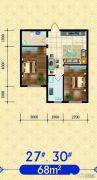 建发・观澜丽景2室2厅1卫68平方米户型图