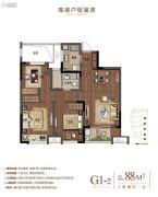 万科悦中环3室2厅1卫88平方米户型图