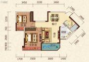 恒大绿洲2室2厅1卫80平方米户型图