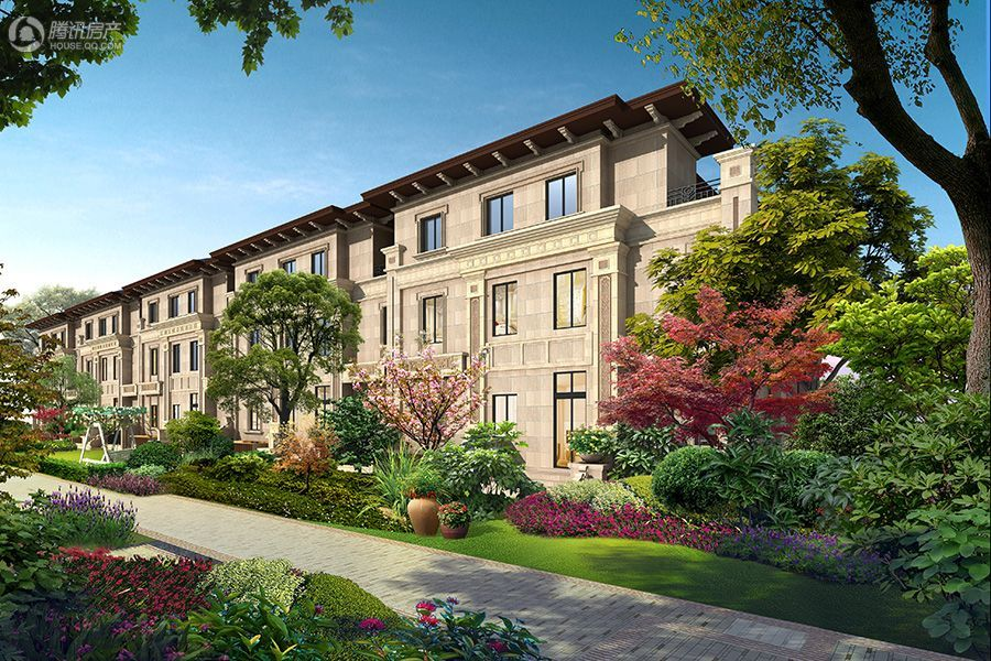 项目联排别墅后花园透视换角度效果图
