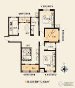 华天公馆3室2厅2卫130平方米户型图