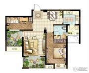 世茂香槟湖2室2厅1卫88平方米户型图