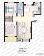 家合园二期2室2厅1卫96平方米户型图