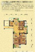 秀水名都3室2厅2卫129平方米户型图