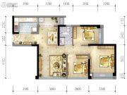 蓝光乐彩城3室2厅1卫74平方米户型图