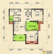 天麟・时代经典2室2厅1卫88平方米户型图