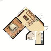 山峰财富广场1室1厅1卫53平方米户型图