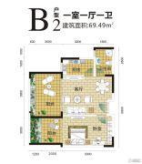 金手指白鹭湖1室1厅1卫69平方米户型图