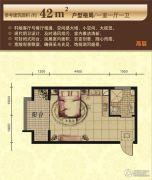 太湖国际花园1室1厅1卫42平方米户型图
